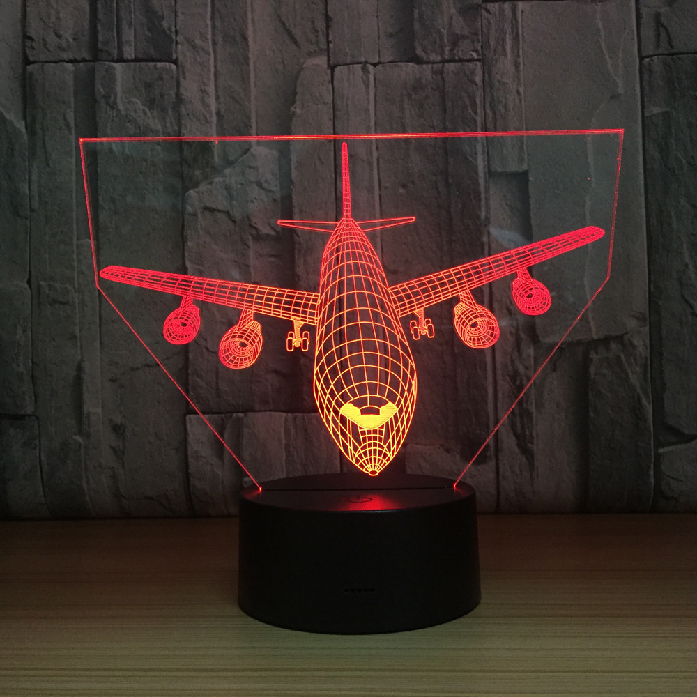 3D Light Air Plane Model Creative Night Light Touch Plane Desk Lamp LED Illusion Lamp Hologram 7 Colors Cool Toy New Year Gift