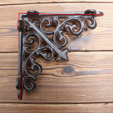 2pcs/ One Pair Antique Cast Iron Wall Mounted Support Display Holder Metal Shelf Brackets