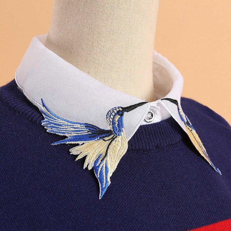 YSMILE Y Fashion Design Heavy Bird Embroidery Vest Blouse Shirt Fake Collar Women Neck Detachable Vertical Small Lapel B211