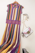 hot sale summer fashion women clothes knitwear rainbow striped sweater dress round neck sleeveless mid calf pleated casual dress