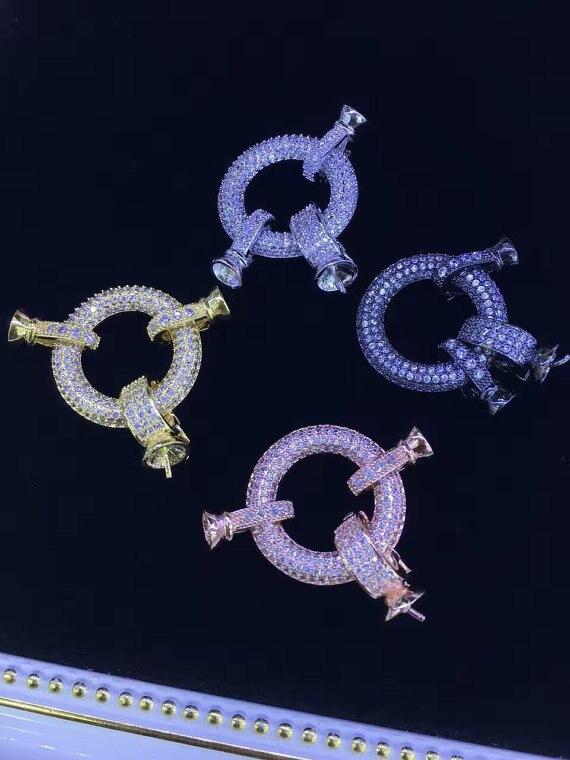 6 pièces 20mm CZ Micro Pave diamant pavé ressort fermoir résultats de bijoux Micro Pave bijoux fermoir collier fermoir pull fermoir - 3