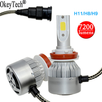 2Pcs Super Bright Auto Car Light H7 H8 H11 LED Headlights COB Chip 6000K 80W 7200LM