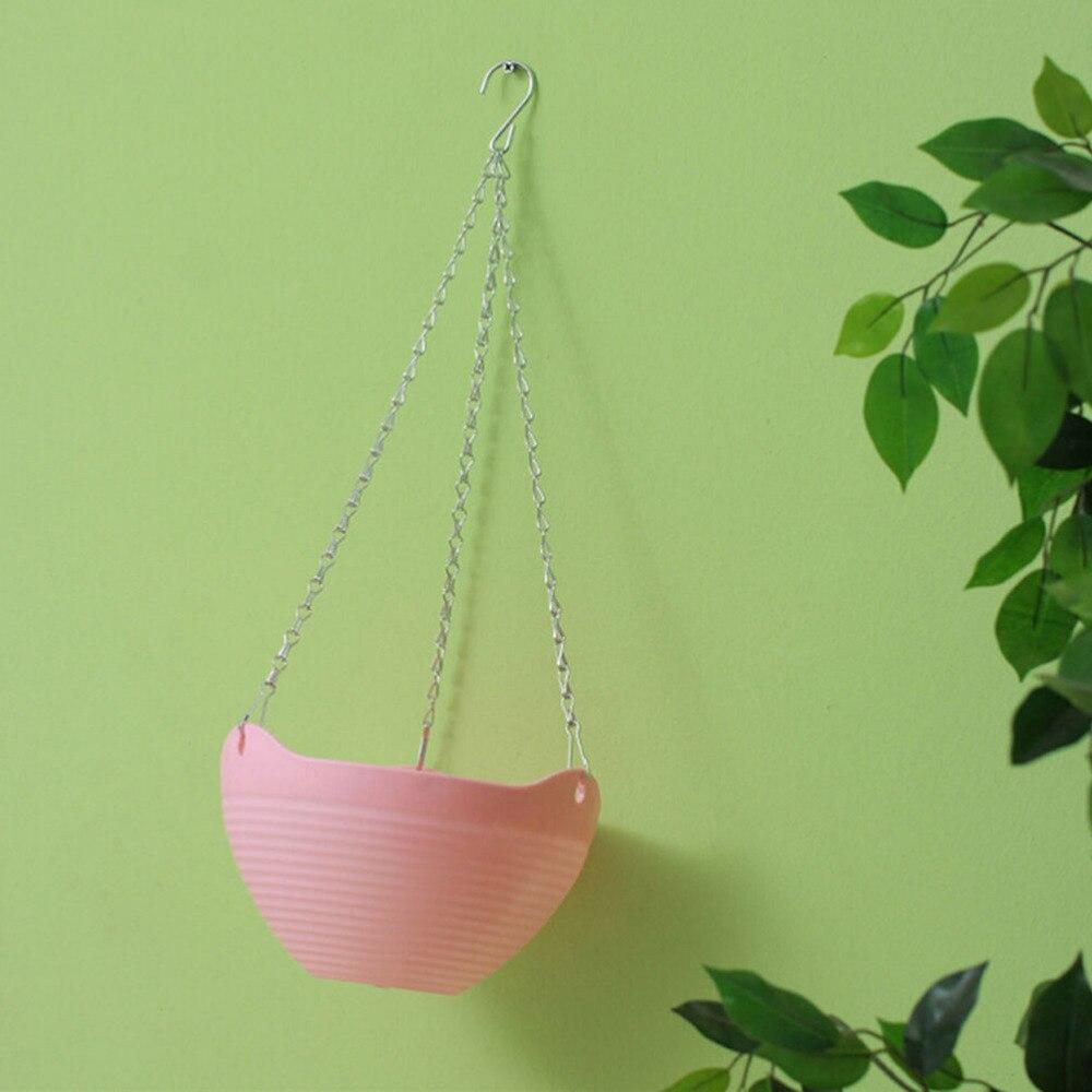 Portable 1PC Hanging Flower Pots Chain Plastic Planter Basket Decor ...