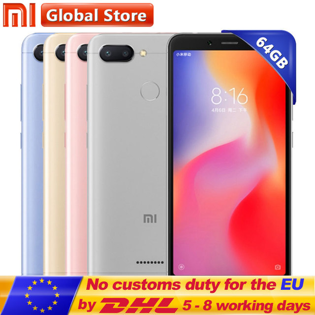"Original Xiaomi Redmi 6 4GB 64GB Helio P22 Octa Core Mobile Phone 5.45"" 18:9 Full Screen 12.0MP+5.0MP 3000mAh Cellphone"