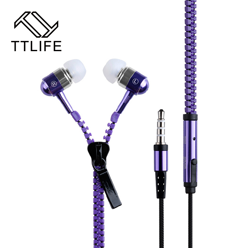 TTLIFE Zipper In-Ear Earphones 00LLE Super Bass Sport Wired Running Earbuds Headphones With Microphone For phone xiaomi PC honor