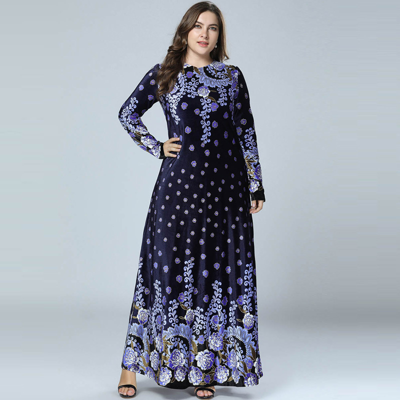 Winter Abaya Muslim Dress Arabic Abayas Printed Velvet Pakistani Dubai Islamic Print Warm Dresses Navy Blue Vestido