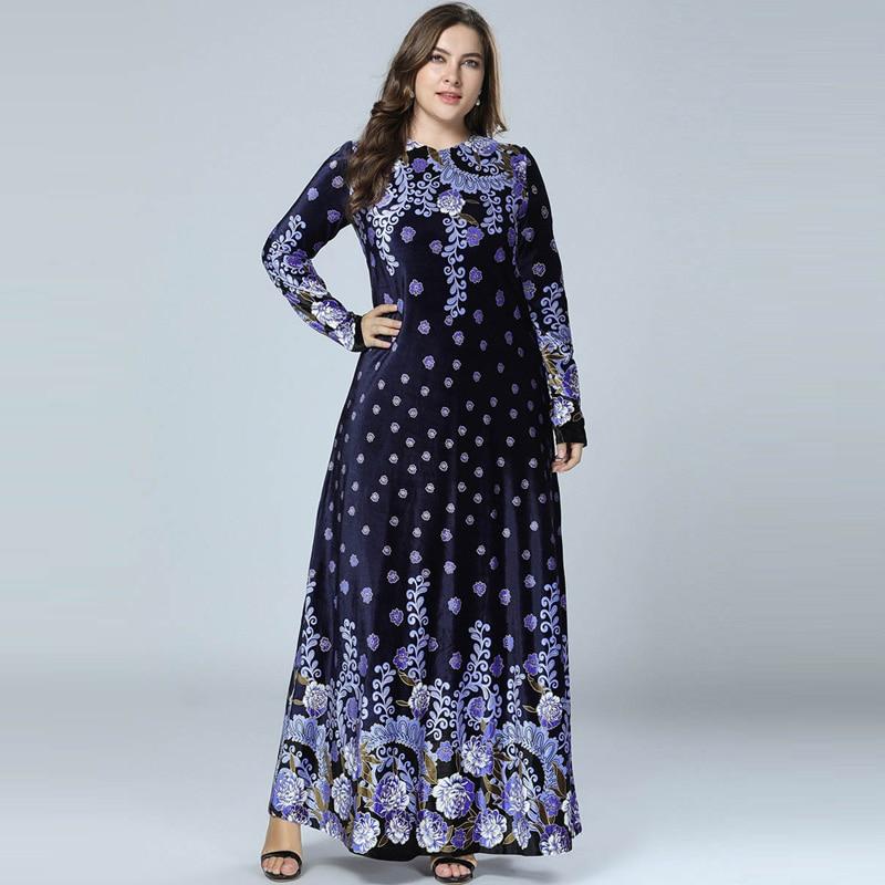 Winter Abaya Muslim Dress Arabic Abayas Printed Velvet Pakistani Dubai Islamic Print Warm Dresses Navy Blue Vestido