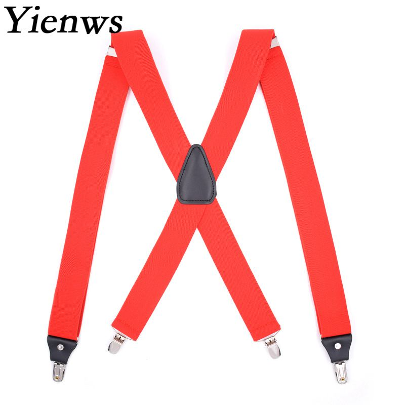 Yienws 4 Clip Cross Suspenders Mens Navy Black Button Braces For Trousers Unisex Suspensorio Adult Red Pants Braces YiA015