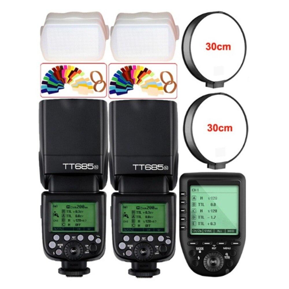 2x Godox TT685N Wireless HSS 1/8000s i-TTL Camera Flash+XPro-N Trigger for Nikon D7500 D7200 D7100 D7000 D5600 D5500 D750 D850 meike mk d750 battery grip pack for nikon d750 dslr camera replacement mb d16 as en el15 battery