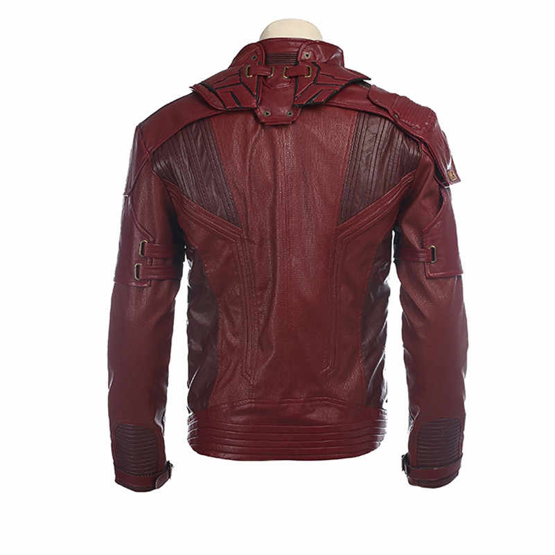 Senhor estrela Traje Cosplay Vermelho Curto PU Jaqueta de Couro Guardians Of the Galaxy 2 Peter Quill cosplay traje de Halloween para homens