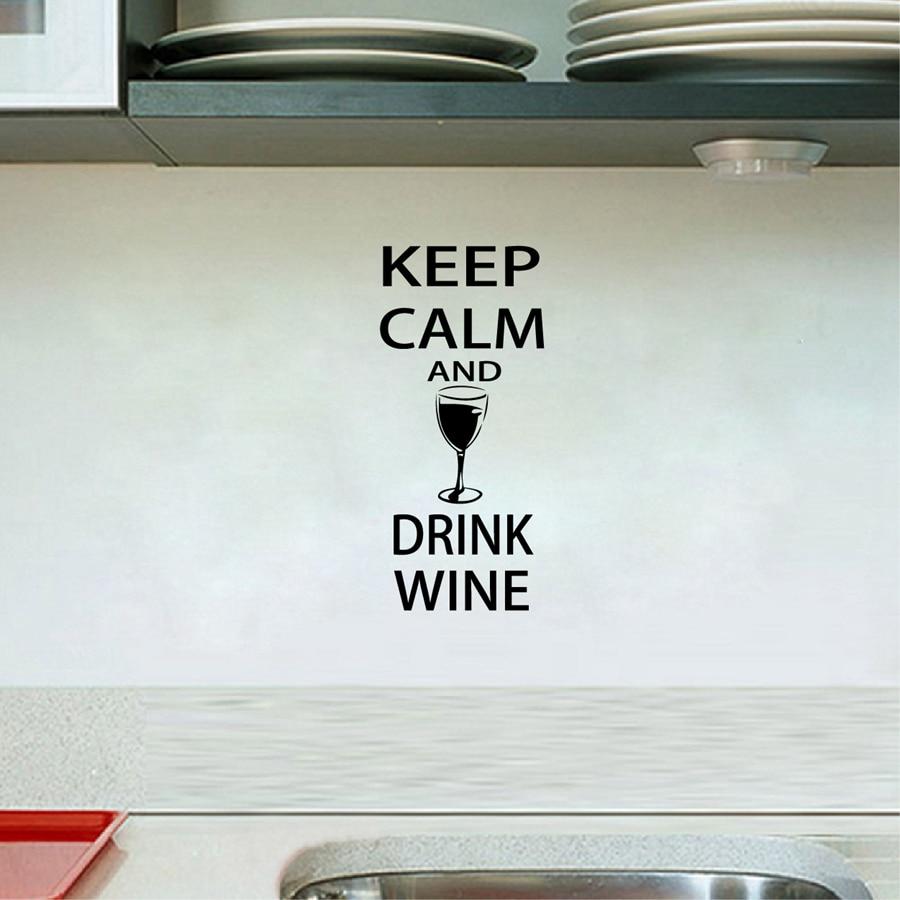 Wine Wall Decals Bar Wall Sticker -  Keep Calm and Drink Wine - Funny Bar pub Wall Art Decor