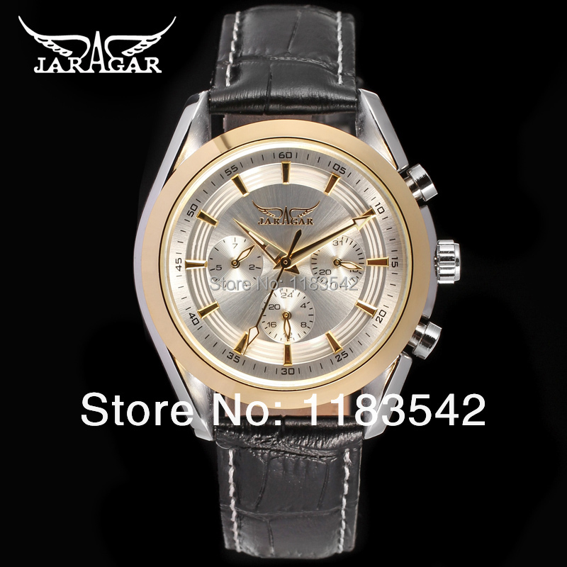Jargar JAG6055M3T2 new men Automatic  fashion dress wristwatch silver color  black leather strap hot selling free shipping  jargar jag6902m3s2 automatic dress wristwatch silver color with black leather steel band for men hot selling free shipping