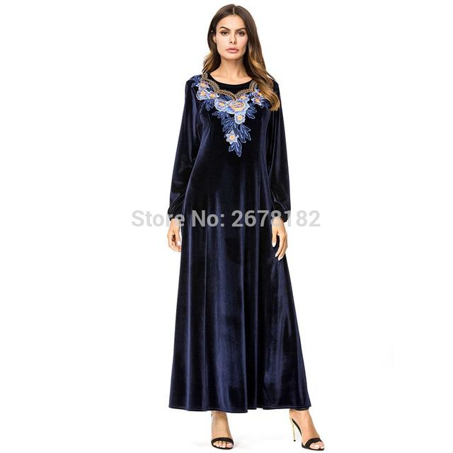 cb9b1bef23 US $15.25 42% OFF Dubai Abaya Velvet Tassel Pearls Beading Draped Slim  Muslim Hijabs Dress Elegant O Neck Islamic Women Clothing Arab Tunic  Robes-in ...