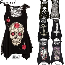 Gamiss HOTsale Summer Plus Size New Women T-Shirt Sexy Skull Print sleeveless Tee Shirt Lace Hollow Out Black female Tee Tops