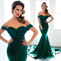 New coming long elegant formal mermaid evening dresses with sweep train sexy off the shoulder prom gowns for party custom made