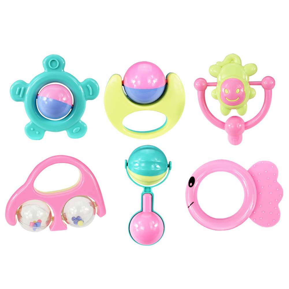 US $3 2 6 pcs set Anak Lucu Tidur Mainan Bayi Tangan Goyang Bell Cincin Guncang Plastik Anak Awal Belajar Mainan Pendidikan di Bayi Mainan