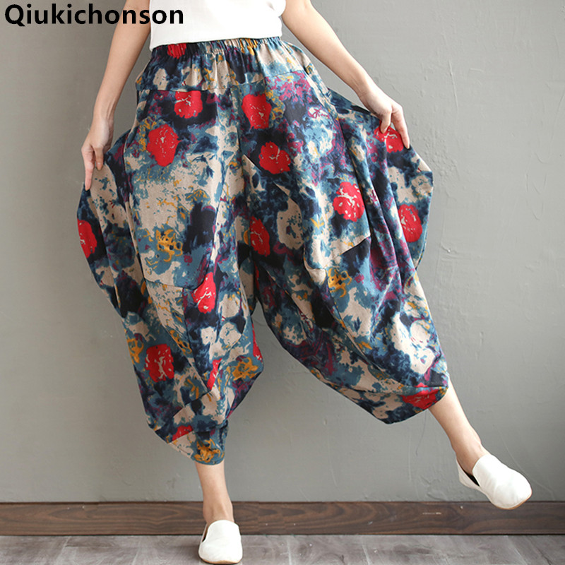 Qiukichonson Bell Bottom Pants Women 2019 Spring Summer Literary Vintage Casual Loose Elastic Waist Cotton Linen Harem Pants