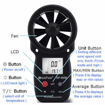 HOLDPEAK 866B-APP Digital Anemometer With Mobile APP Wind Speed Meter Measures Temperature Wind Chill with Backlight Anemometer