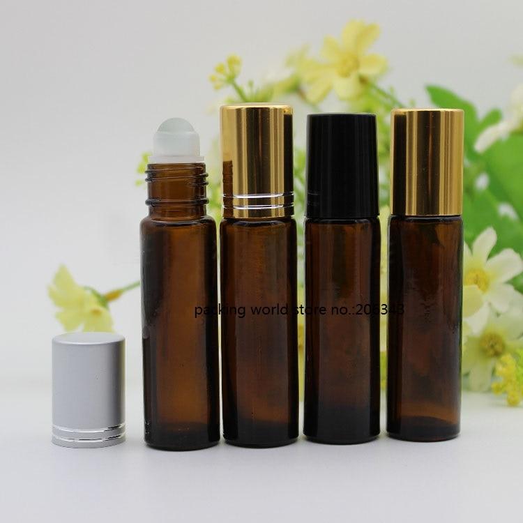 10ML brown glass bottle steel glass roll on for eye cream perfume essential oil serum packing