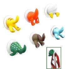 Мультяшные милые крючки в виде животных хвост резиновые присоски стойки ключ полотенце вешалка держатель