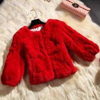 Nouveau 2017 hiver Rex de fourrure de lapin femmes vestes manteau court naturel fourrures blanc noir crème orange prix le plus bas de fourrure outwear CW3251