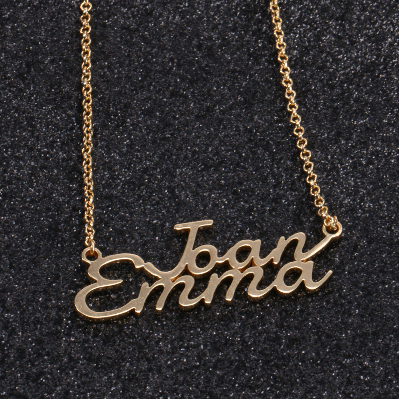Duoying Double Line Personalized Name Necklace Custom Engraved Letter Collares Mujeres Necklace & Pendant with Initial for Etsy