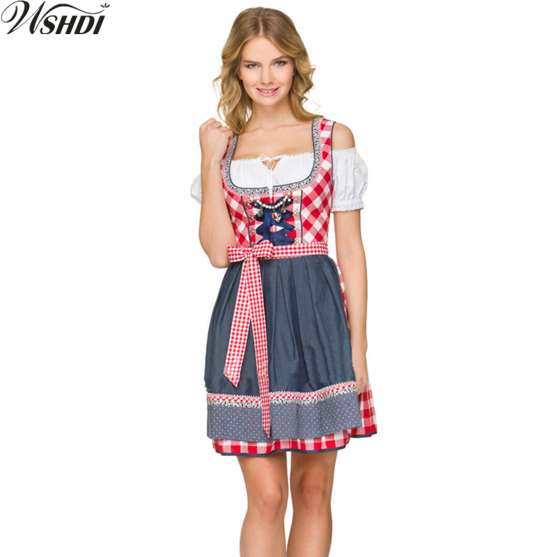 Women Oktoberfest Costume Octoberfest Bavarian Dirndl Maid Peasant Skirt Dress Party Adult Female Oktoberfest Dress