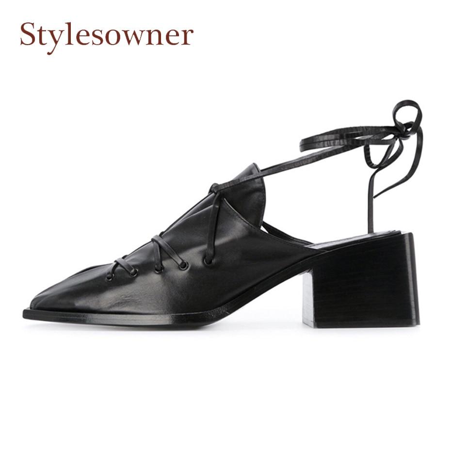 Stylesowner retro style square toe chunky heel sheepskin women shoes high heels baotou cross tied slingback half slippers sandal