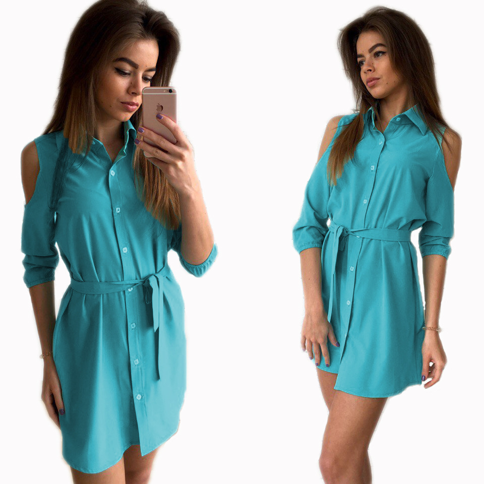Three Quarter Sleeve Cold Shoulder Shirt Dress 2018 Sexy Women Office Dresses Turn Down Collar Prom Sashes Casual LX227