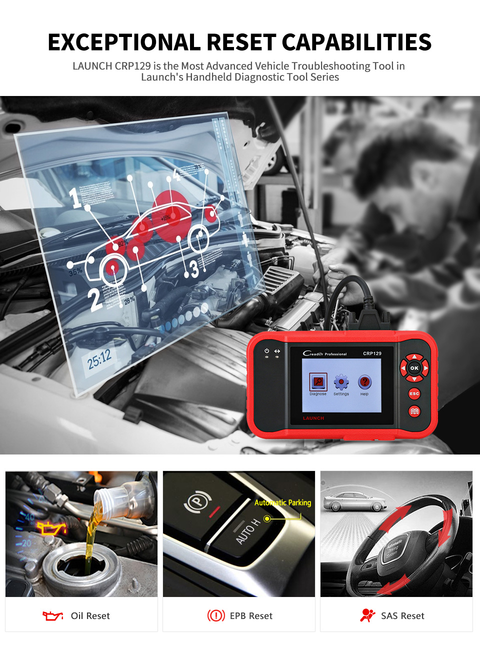 Image 2 - Launch X431 Creader CRP129 Auto Code Reader OBD2 Scanner OBDII Automotive Diagnostic Tool Machine Creader VIII 8 ABS SRS Tools-in Code Readers & Scan Tools from Automobiles & Motorcycles