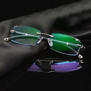 Image 1 - Fashion Eyeglasses A001 Diamond Trimming Cutting Rimless Eyeglasses Prescription Optical Glasses Frame for Men Eyewear