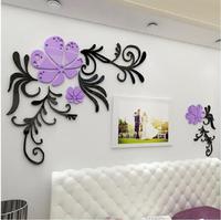 Venta caliente de la Flor de Acrílico 3D pegatinas de pared de la sala de estar pared TV Dormitorio decoración Ventas Al Por Mayor Regalos Creativos DIY