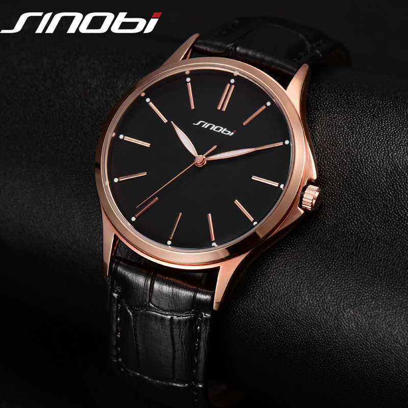 Fashion Business Casual Watch Japan Quartz Men Gentalman Minimalist trend leather Strap Wristwatch Simple Classic design SINOBI
