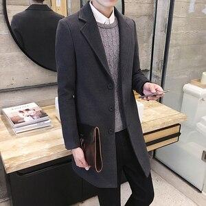 Image 5 - 2020 가을/겨울 신사복 부티크 솔리드 컬러 비즈니스 캐주얼 모직 코트/남성 하이 엔드 슬림 레저 자켓