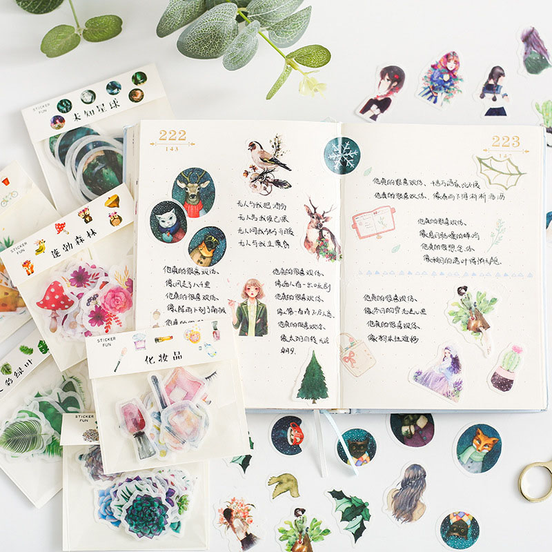 32Pcs Cute Unicorn Stickers Cartoon Flower Penguin Sticker Kawaii Stationery Stickers For Kid Scrapbooking Diary Albums Supplies