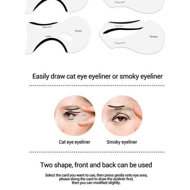 10pcs Eyeliner Stencil Cat Eye Fish Tail Double Wing Eyeliner Stencil Models Template Shaping Tools Eyebrows Template Card DIY 5