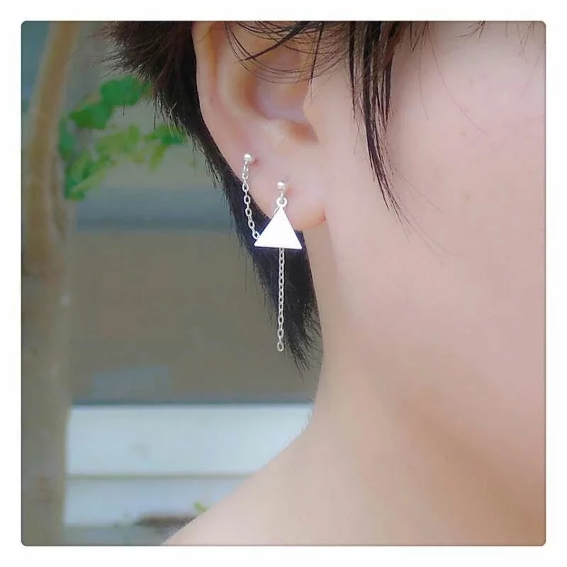 New 925 Sterling Silver Earrings Two Ear Hole Conjoined Drop Triangle Star Studs Short Paragraph Small Tel Wild Geometry
