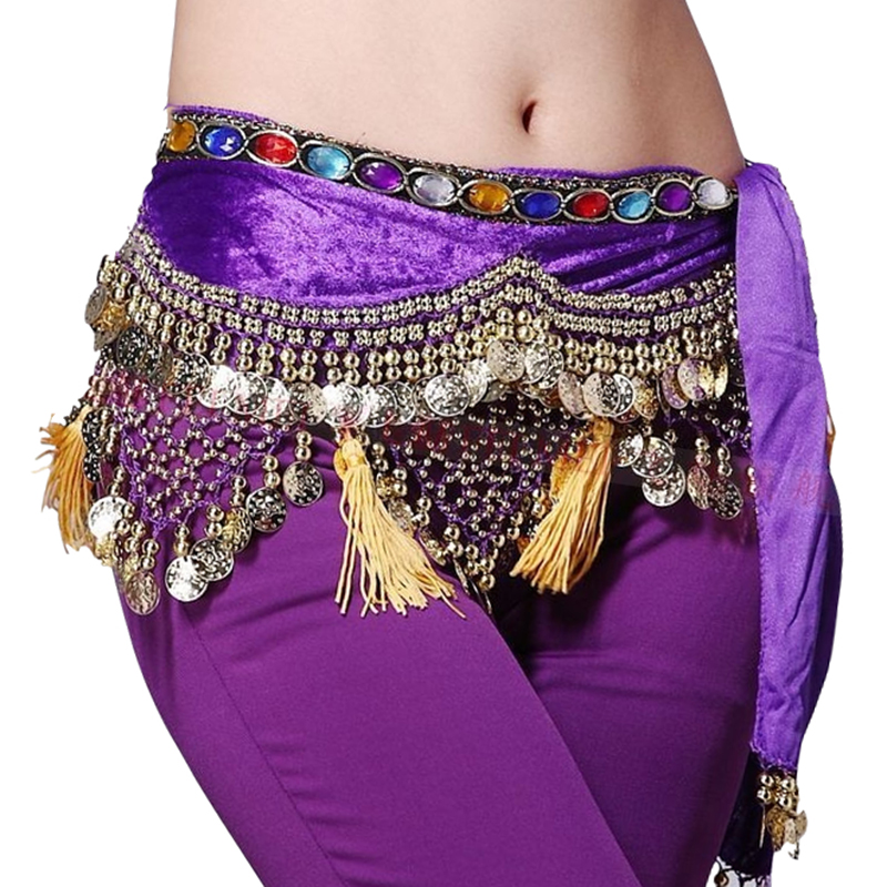 12 Colors Dancewear Training Clothing Hip Scarf 248 Gold Coins Colorful Rhinestone Adjustable Fit Velvet Belt For Belly Dancing