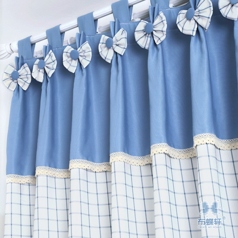 Blue Lattice Freshness Cloth For Curtain Promotion Nice Korean Style Design  Window Curtain For Bedroom Window Screening In Curtains From Home U0026 Garden  On ...