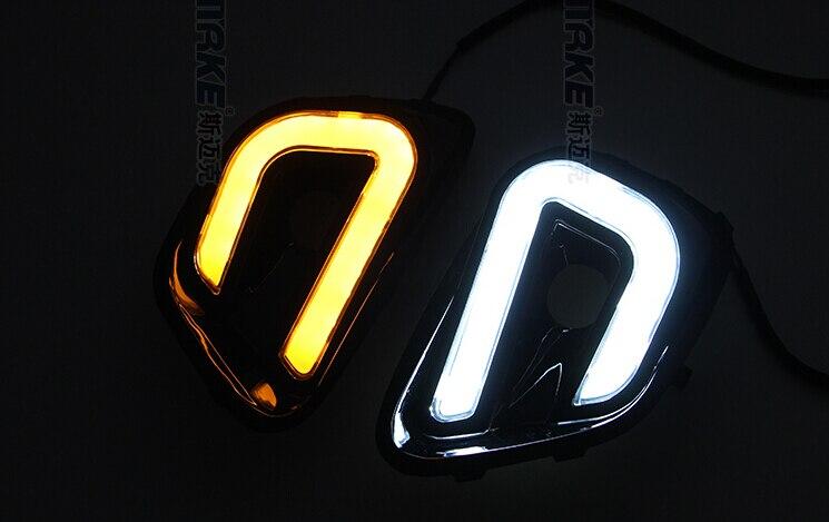 светодиодные DRL фары дневного света для джип компас путеводный свет дизайн с желтыми поворотниками