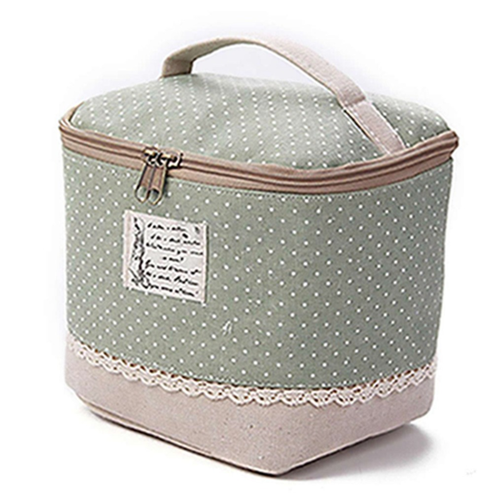 New Fashion Casual High Quality Multifunction Travel Linen Cosmetic Makeup Bag Toiletry Organizer Storage Case Dot Zipper Barrel
