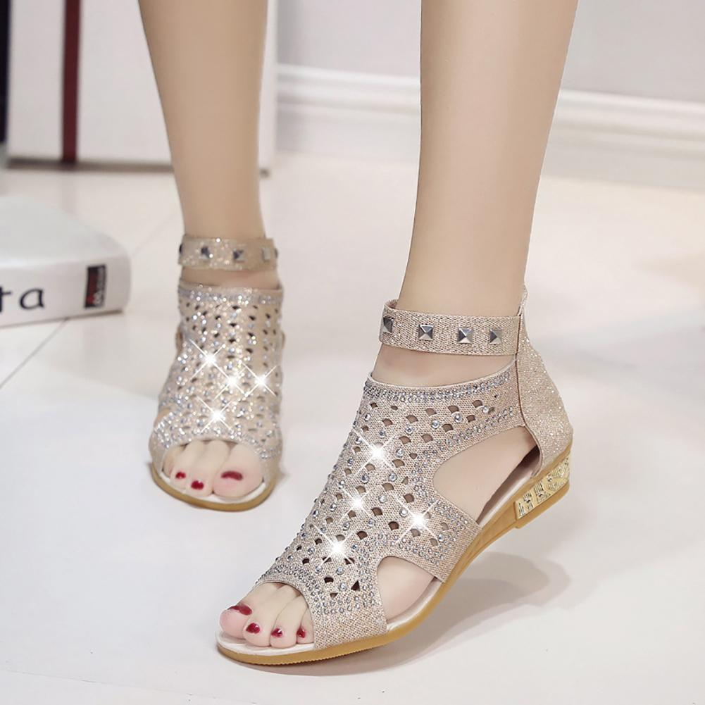 Boho Women Leather Gladiator Shoes Hollow Rhinestone Rivet Sandals Summer Shoes