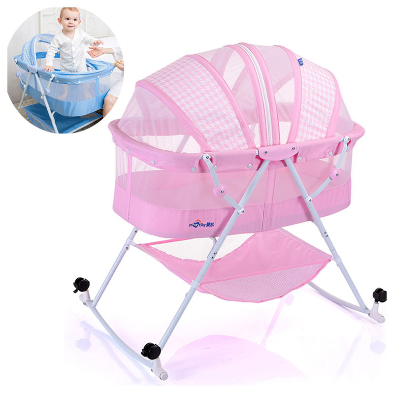 New Multifunction Convertible Baby Cribs Bassinet Bed Folding Portable Newborn Baby Cradle Crib with Netting Nursery Furniture nursery furniture kit