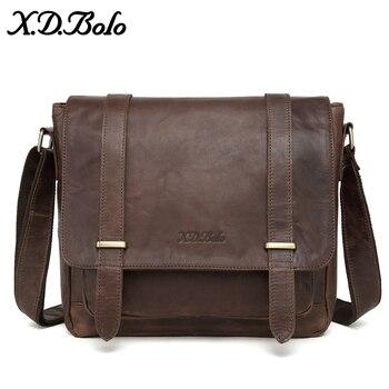 cb875e43faf0 X. D. BOLO сумка Мужская натуральная кожа мужские сумки на плечо яловая  Повседневная сумка через плечо Crazy Horse мужская сумка для мужчин