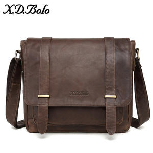 X.D.BOLO Messenger Bag Men Genuine Leather Men's Shoulder Bags Cowhide Casual Crossbody Bags Crazy Horse Men Bag for Male