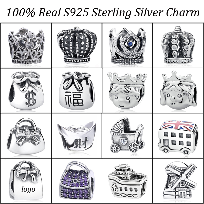 925 Sterling Silver Beads Crown Prince Princess Cruise Bus Bag Parm Charm Fit Original PAN Charm Bracelet DIY Silver Jewelry
