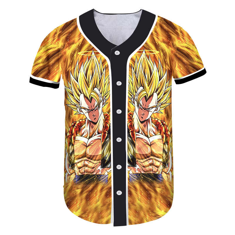 OGKB Забавный принт Dragon Ball 3d футболка с кнопкой повседневные футболки женские с коротким рукавом бейсбольные форменные футболки