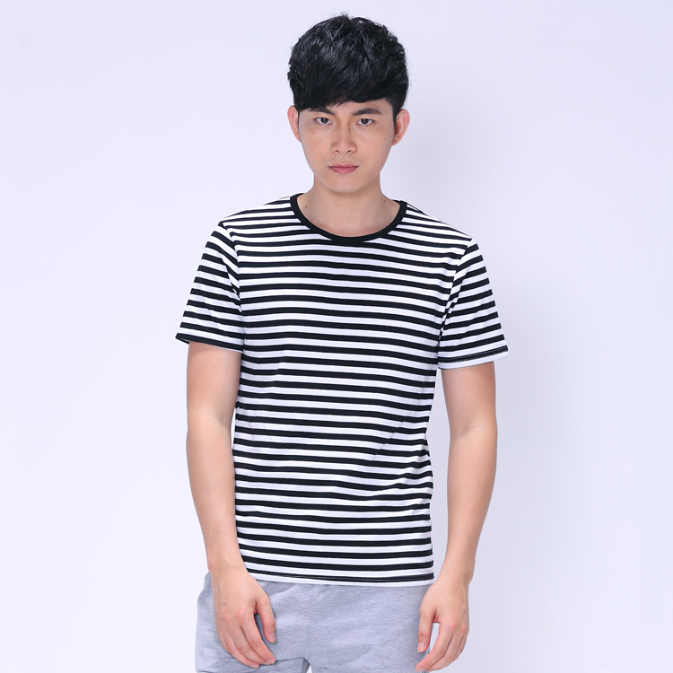 ea88e5ea Black/Blue/Red with White Striped T-shirt Casual Blouse Men Clothing  Contrast Color Short Sleeve Vintage Cotton Rock Tee-Shirt