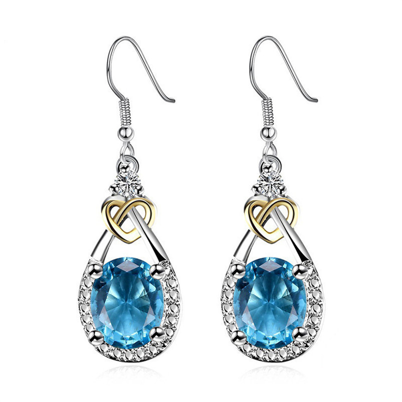 Fine Jewelry S925 Sterling Silver Blue Topaz Drop Earrings For Women Oval Gemstone Wedding Dangle Earring Accessories E101