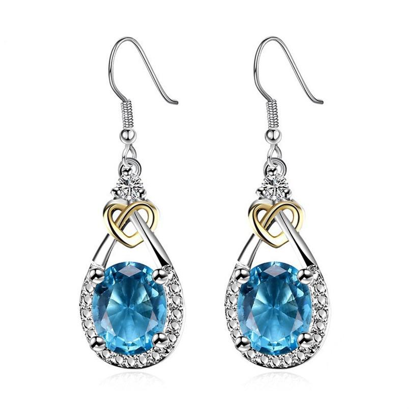 Fine Jewelry S925 Sterling Silver Blue Topaz Drop Earrings